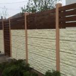 Panou K1 + Lemn natural - Gard beton prefabricat