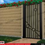 Gard lemn - Model K015 - Gard prefabricat din beton Konkret Line
